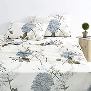 Wake In Cloud - Floral Sheet Set, 100% Cotton Bedding, Botanical Flowers Pattern Printed (4pcs, Queen Size)