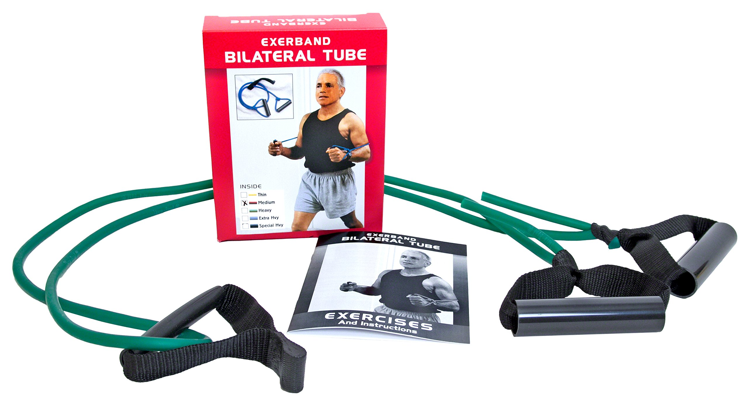 ExerBand 6ft Bilateral Tube Rubber Resistance Tubing with Two Handles For Performing Resistance Workouts at Home - Green