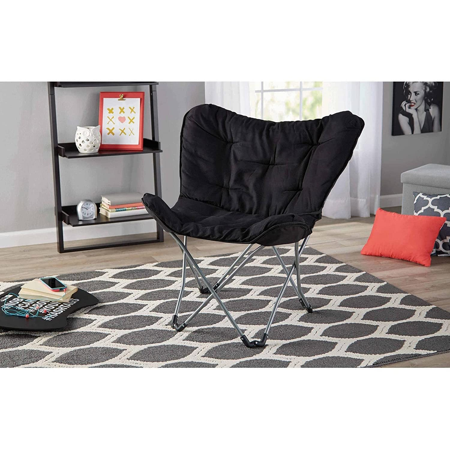 Butterfly chair black - Amazon Com Mainstays Collapsible Butterfly Chair With Soft Microsuede Fabric Black 1 Kitchen Dining
