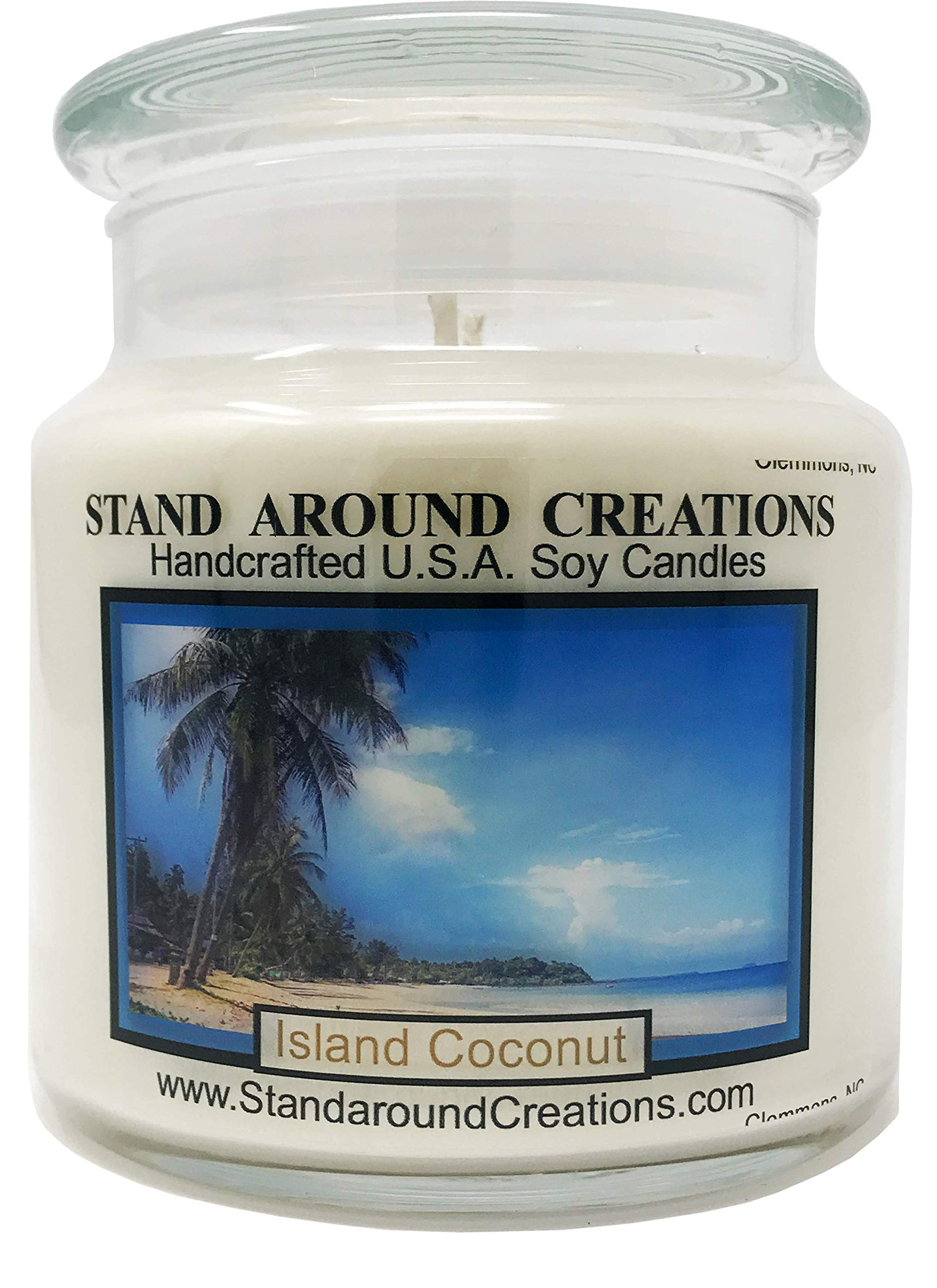 Premium 100% All Natural Soy Apothecary Candle - 16 oz. - Island Coconut: Fresh coconut, sweet pineapple w/a hint of creamy vanilla.