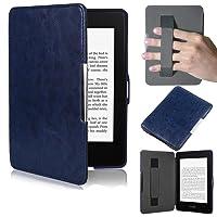 PUBAMALL Funda para Kindle Paperwhite, con Funda de Cuero Auto Sleep/Wake,Cubierta de Cuero de la PU para Kindle Paperwhite (Azul Oscuro)