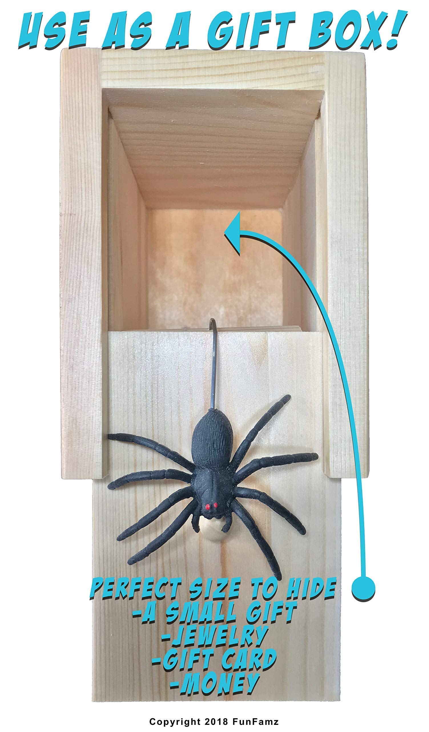 The Original Spider Prank Box- Hilarious Wooden Box Toy Prank, Funny Money Gift Box Surprise Toy, and Christmas Gag Gift Prank for Boys, Girls, Adults by FunFamz by FunFamz (Image #8)