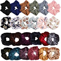 WATINC 24Pcs Chiffon Flower Hair Scrunchies,Velvet Colorful Hair Ties,Elastic Hair Bobbles for Ponytail Holder,Hair Accessories Ropes Scrunchie for Women,Mixcolor Flower Printed & Solid Color
