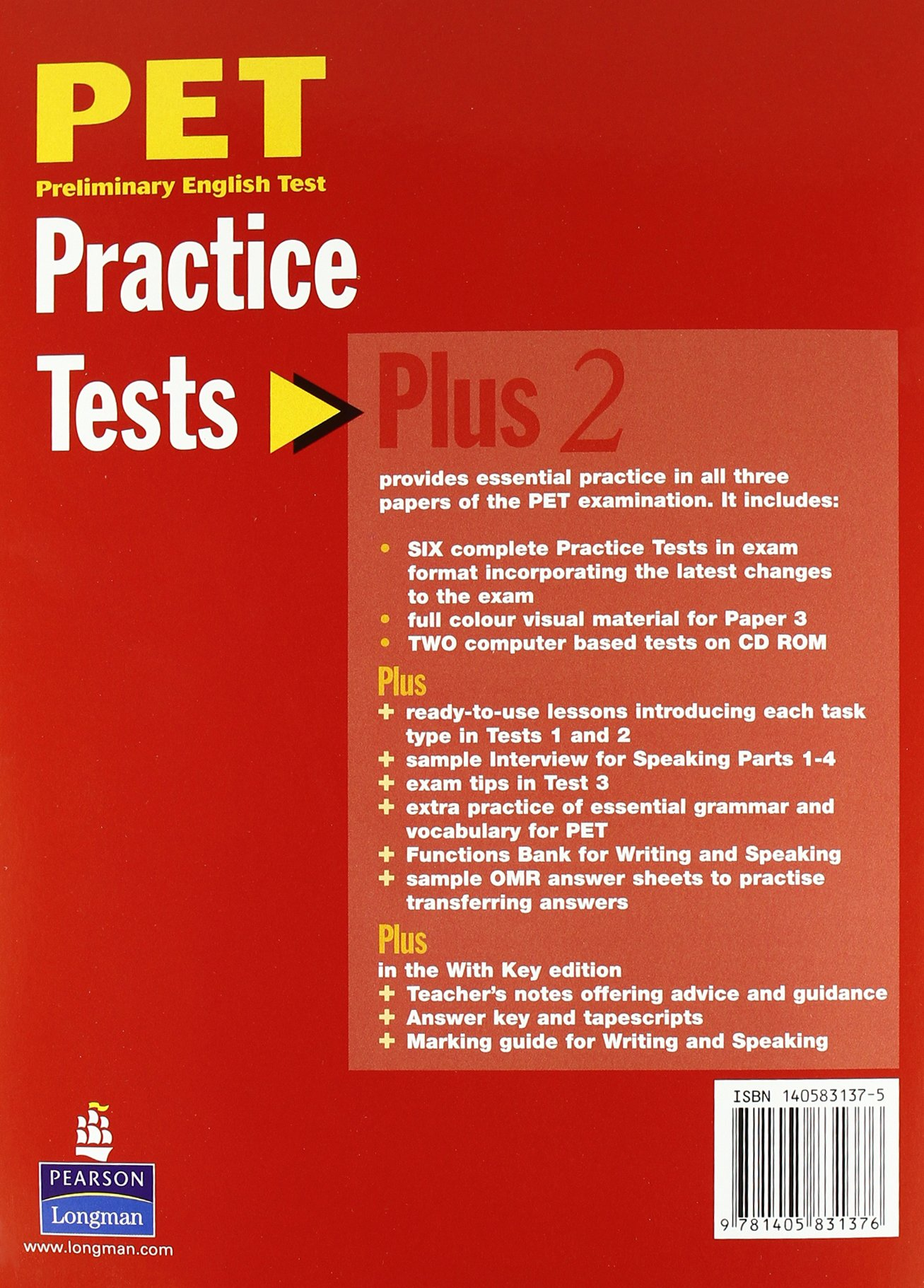 PET Practice Tests Plus 2: Book with CD-Rom (Key Included