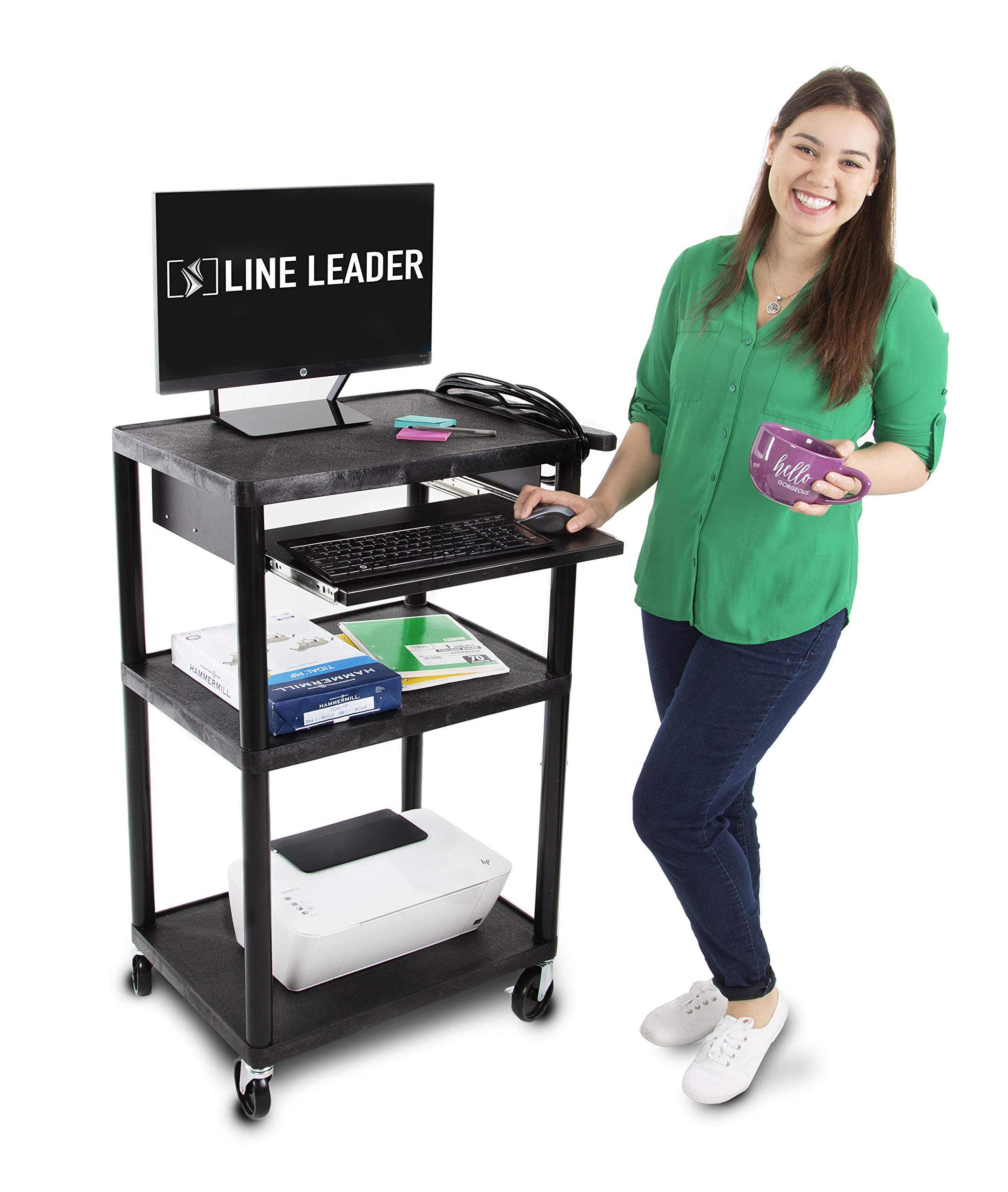 Line Leader Plastic AV Cart with Keyboard Tray - Mobile Workstation with 4 Rolling Casters and 2 Locking Brakes- Heavy Duty, Holds up to 400 lbs- Perfect for Offices and Schools (Black / 24 x 18 x 42) by Stand Steady
