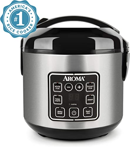 Aroma Housewares ARC-914SBD 2-8-Cups (Cooked) Digital Cool-Touch Rice Grain Cooker and Food Steamer