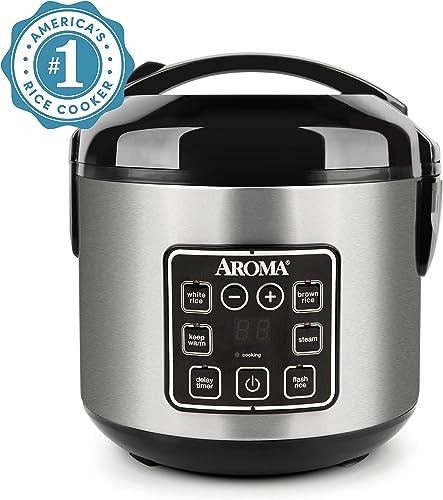 Aroma Housewares ARC-914SBD 2-8 tazas (cocidas) Olla de arroz y vaporera digital de tacto frío