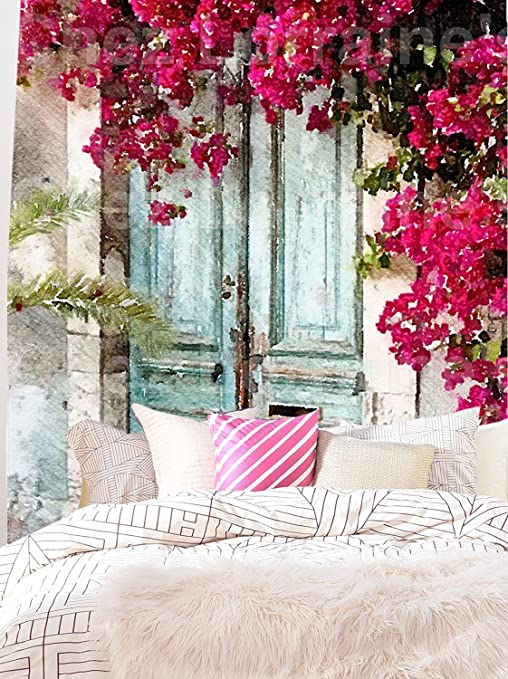 Amazon Com Oil Painting About The Blue Door With The Beautiful Flowers Wall Hanging Tapestry Fabric Wallpaper Home Decor 60 X 80 Twin Size Home Kitchen