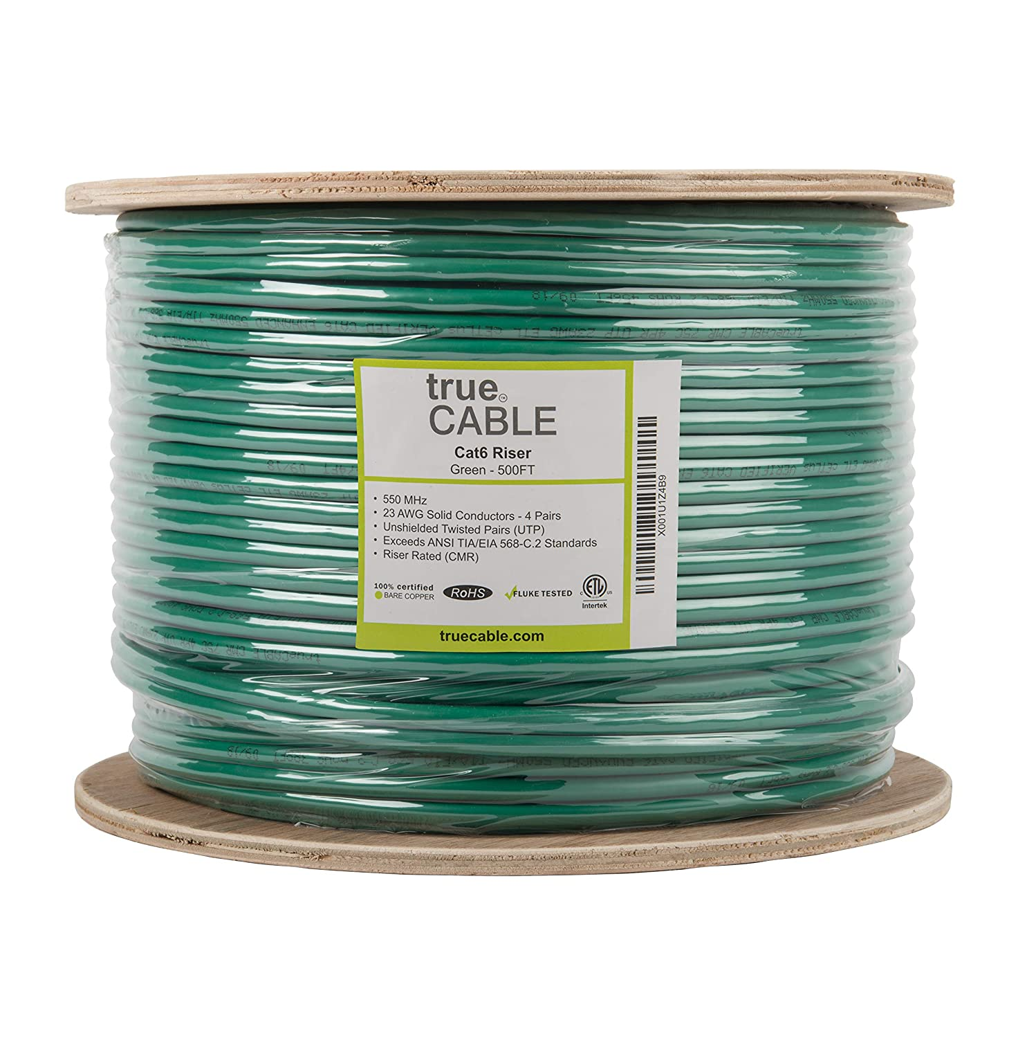 Bulk Ethernet Cable trueCABLE 6ECMRBLU/_500rl UTP CMR Unshielded Twisted Pair Blue ETL Listed Cat6 Riser 500ft 23AWG 4 Pair Solid Bare Copper 550MHz