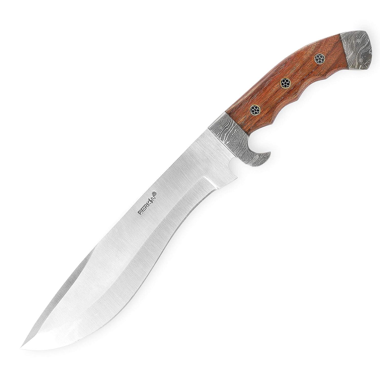 Perkin - Cuchillo de Caza con Funda de Piel - Hoja de Acero ...