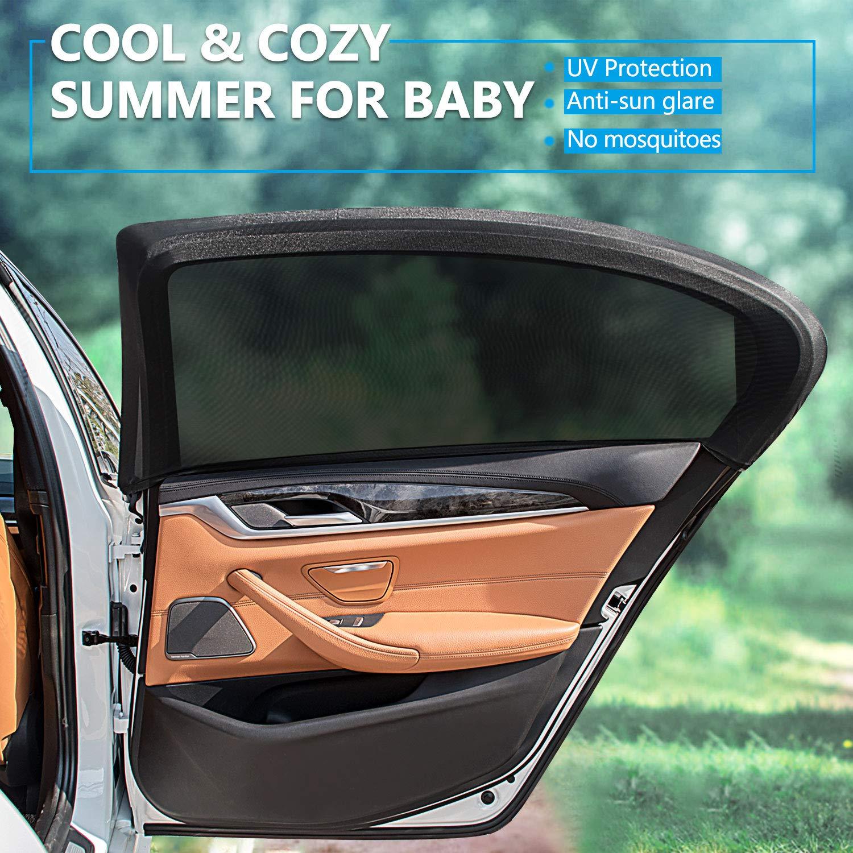 2Stk Sonnenschutz-Rollo Seitenfenster Sonnenblende für Auto Baby Faltbar Schwarz