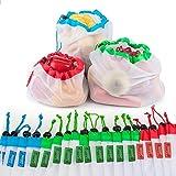 Bolsas reutilizables de malla,Bolsas Compra Reutilizables Ecológicas Bolsas lavables para Almacenamiento frutas,verduras y ju