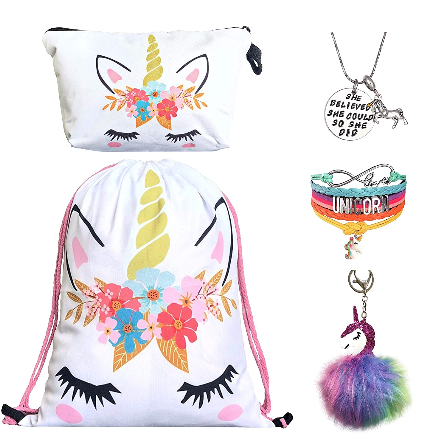 Unicorn Drawstring Backpack//Makeup Bag//Bracelet//Inspirational Necklace//Hair Ties Sequin Unicorn Rainbow Unicorn Gifts for Girls