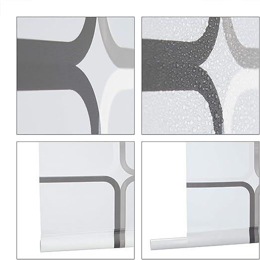 Relaxdays, Semitransparente, 80x240 cm Cortina de Ducha Square, A Cuadros, Soporte de Techo, PVC-Plástico-Aluminio: Amazon.es: Hogar