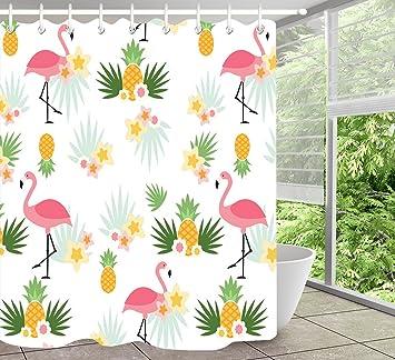 Flamant Rose Rideau De Douche Tropical Feuille De Bananier Ananas
