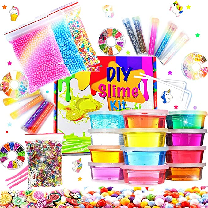 Fluffy Slime Kit de 12 Colores Crystal Slime con 10 Botellas de Brillantina para Niñas , Juguetes para Niños 4 Piezas de Juguete de Fruta para niños Mayores de 6+ años: Amazon.es: Juguetes y juegos