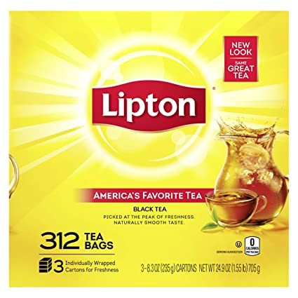 Lipton Tea Bags For A Naturally Smooth Taste Black Tea Can Help Support A Healthy Heart 24 9 Oz 312 Count Yellow Amazon Com Grocery Gourmet Food