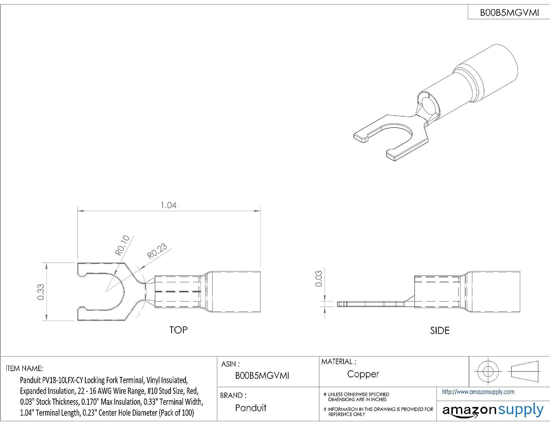 Panduit PV18-10LFX-CY Locking Fork Terminal, Vinyl Insulated ...
