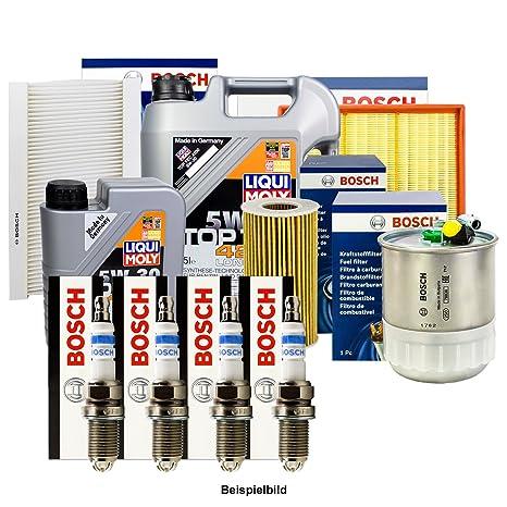 Bosch inspektions Juego 4 Filtro + Velas + 6L Liqui Moly 5 W de 30