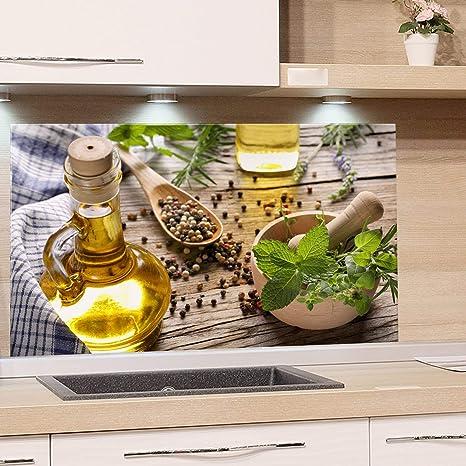 GRAZDesign Spritzschutz Glas für Küche Herd, Bild-Motiv grün Kräuter  Gewürze Provinz mediterran, Küchenrückwand Glas Küchenspiegel Glasrückwand  / ...