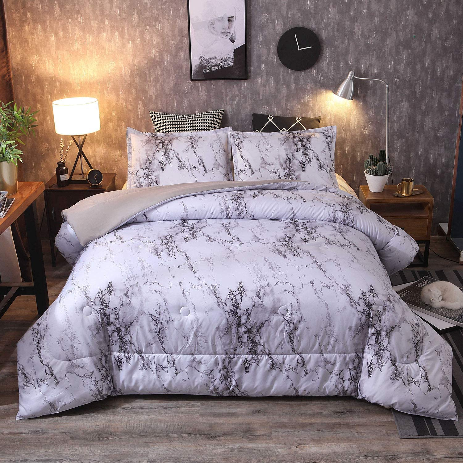 Sisher Queen Size Comforter Sets, White Marble Bedding Sets 9pcs Bed Sets  Quilt with 9 Matching Pillow Shams