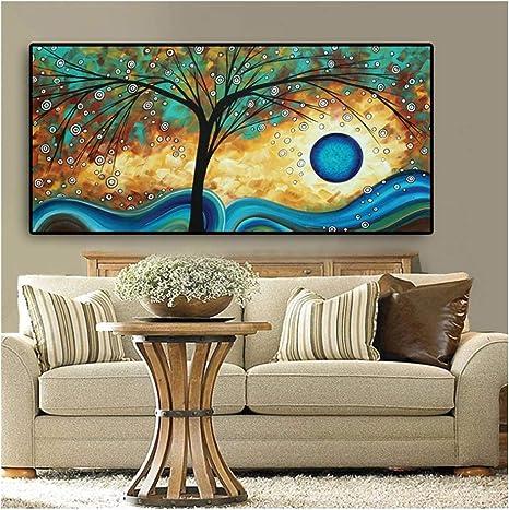 Amazon Com Arte De Pared Zxyfbh Abstracto árbol Sunset Onda Pintura Al óleo Sobre Lienzo Póster E Impresiones Escandinavo Arte De Pared Para Sala De Estar Cuadros Decoración 15 7 X 31 5 In X