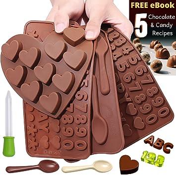 Moldes de silicona para hacer dulces de chocolate + libro electrónico de recetas – varios diseños