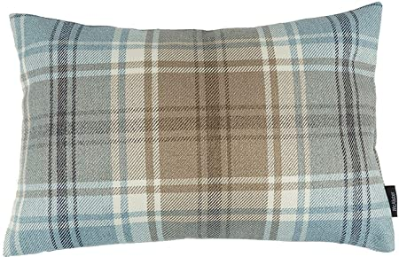 McAlister Textiles Angus Filled Pillow Duck Egg Blue Tartan Plaid Decorative Woven Throw Scatter Sofa Cushion Size 16 x 24 Inches