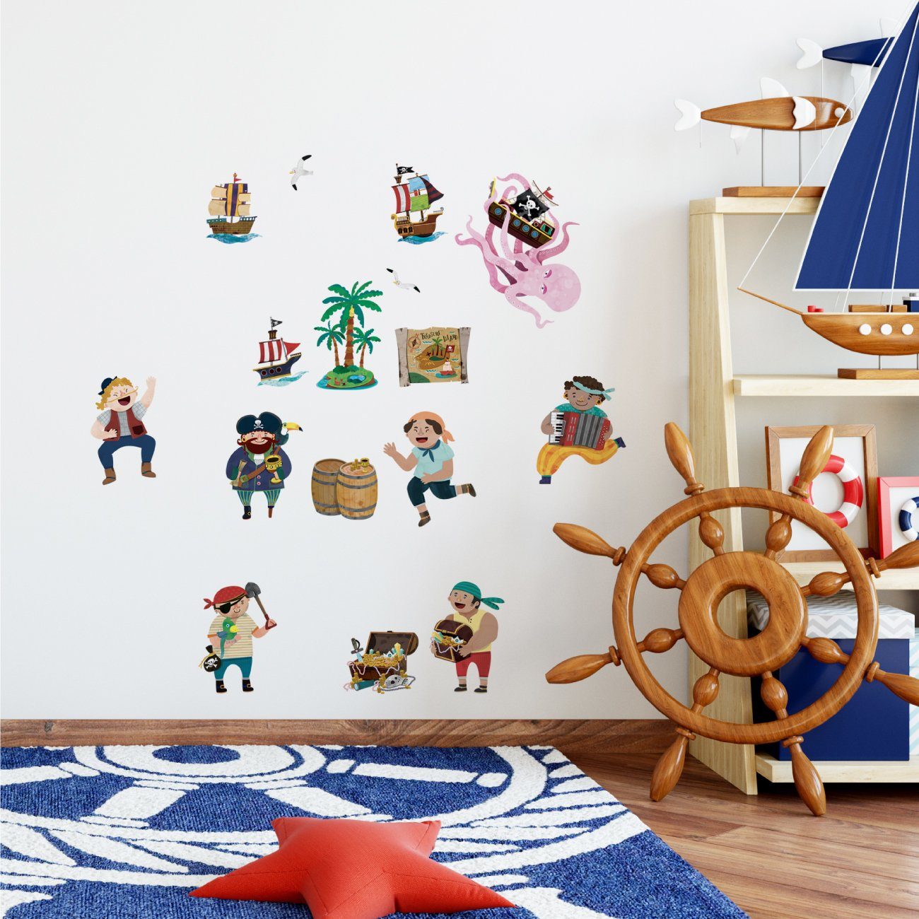 Decowall DS-8010 Pirates /& Treasure Island Kids Wall Stickers Wall Decals Peel and Stick Removable Wall Stickers for Kids Nursery Bedroom Living Room Small