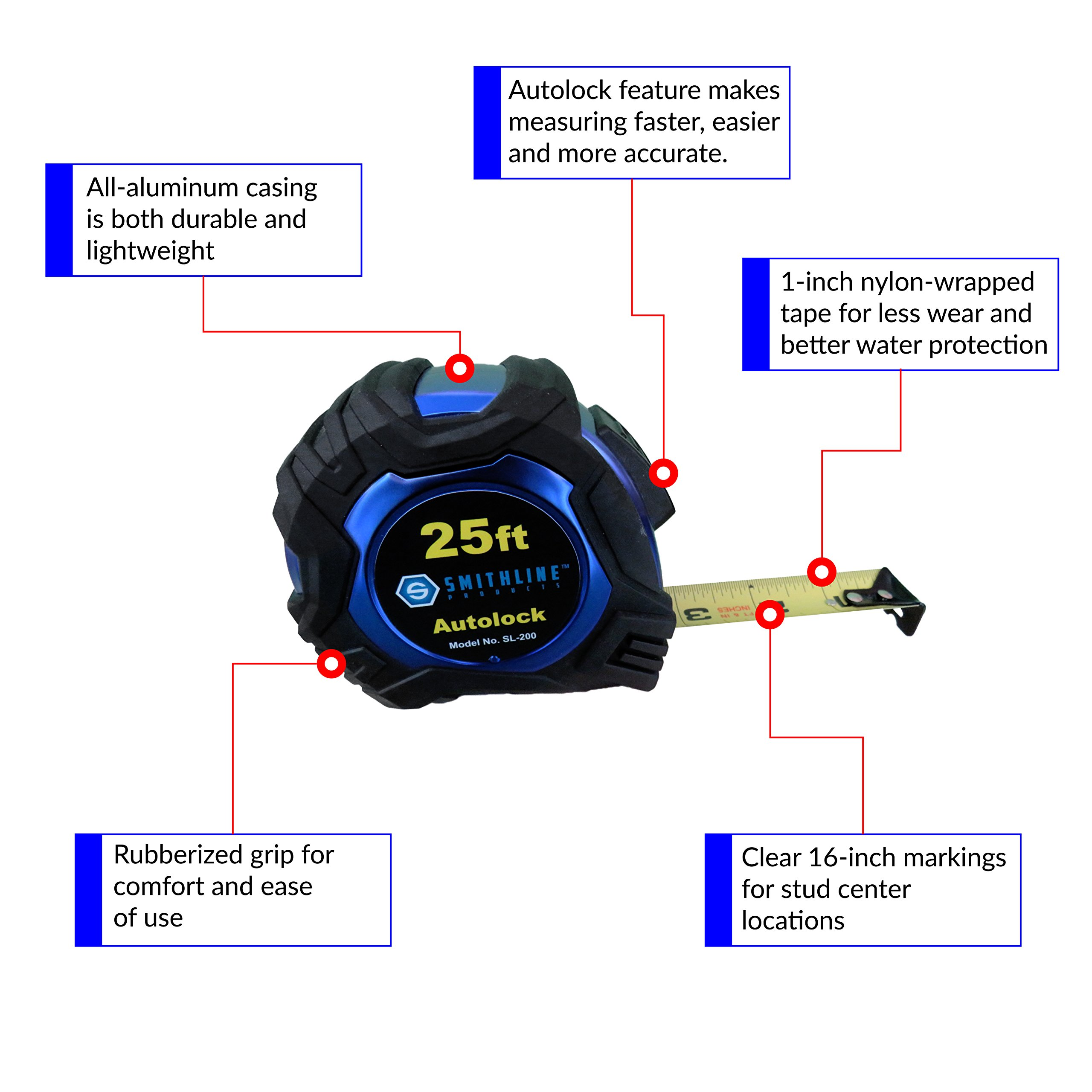 Smithline SL-200 Professional Grade Auto-lock Tape Measure by Smithline Products (Image #2)
