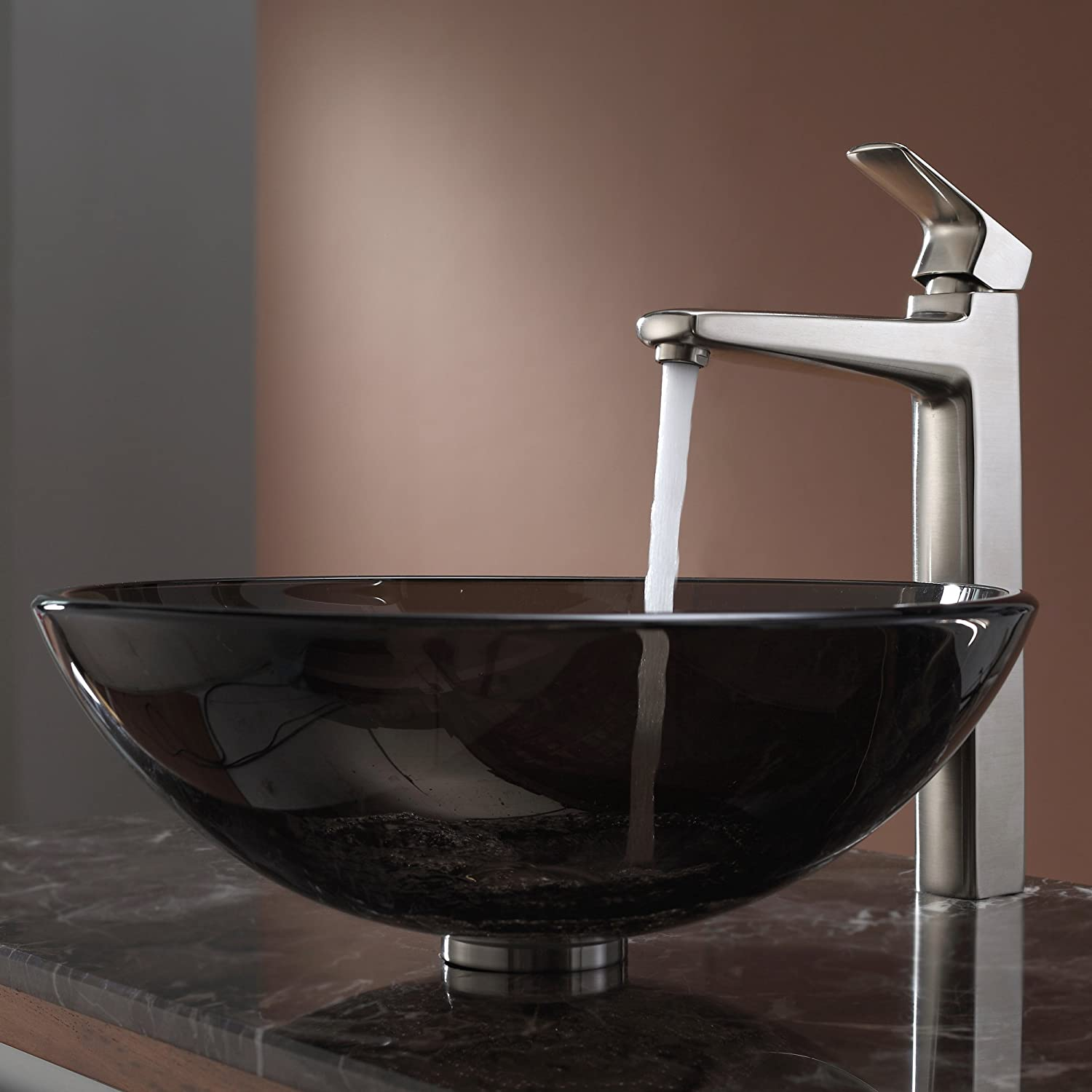 Kraus KEF-15500BN Virtus Single Lever Vessel Bathroom Faucet Brushed ...