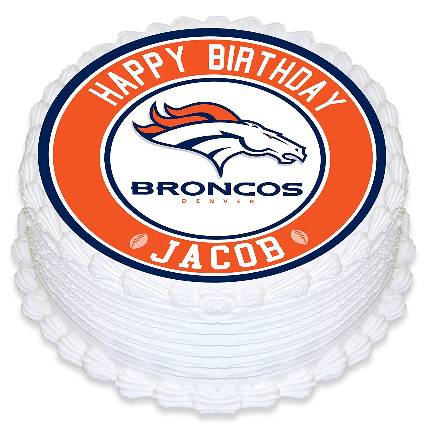 Denver Broncos Edible Image Cake Topper Personalized Birthday 8 Round Circle Decoration Custom Sheet Party Sugar Frosting Transfer Fondant