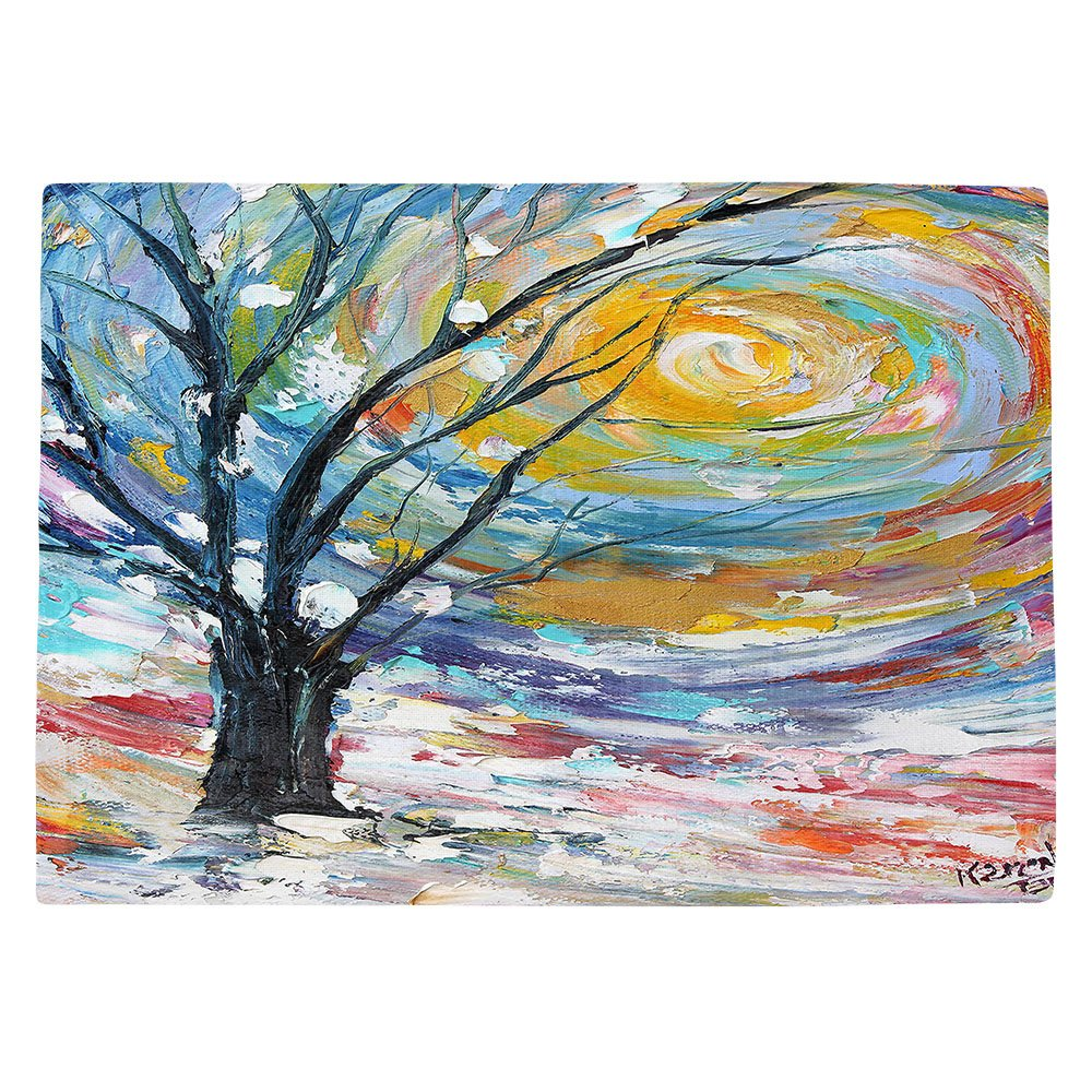 DIANOCHEキッチンPlaceマットby Karen Tarlton – Winter Poetry Set of 4 Placemats PM-KarenTarltonWinterPoetry2 Set of 4 Placemats  B01EXSHM4Q