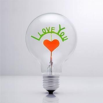 Darksteve I Love You Vintage Light Bulb Edison Style G80 E26 Screw Filament