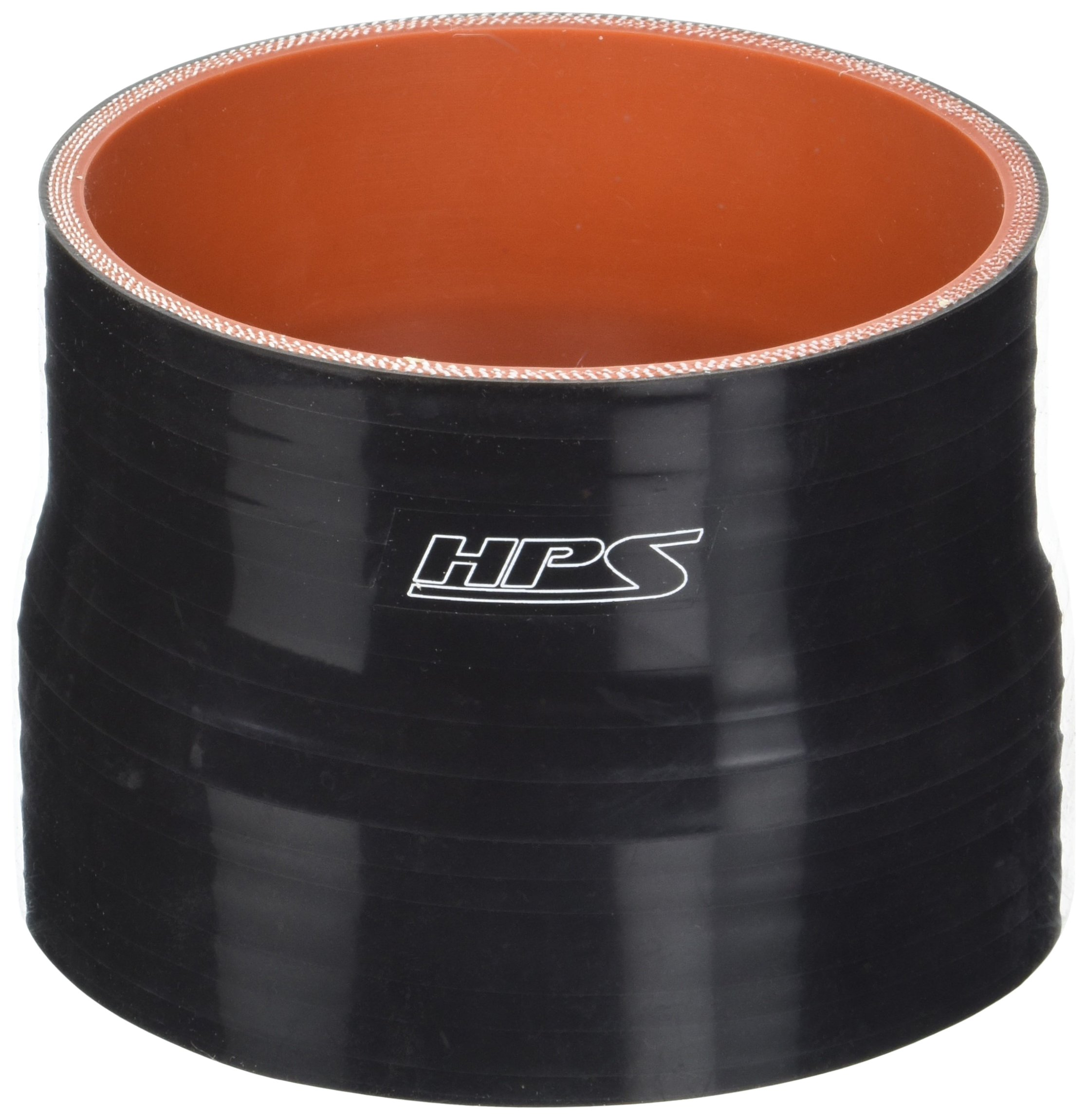 HPS HTSR-375-400-BLK Silicone High Temperature 4-ply Reinforced Reducer Coupler Hose, 40 PSI Maximum Pressure, 3'' Length, 3-3/4'' > 4'' ID, Black