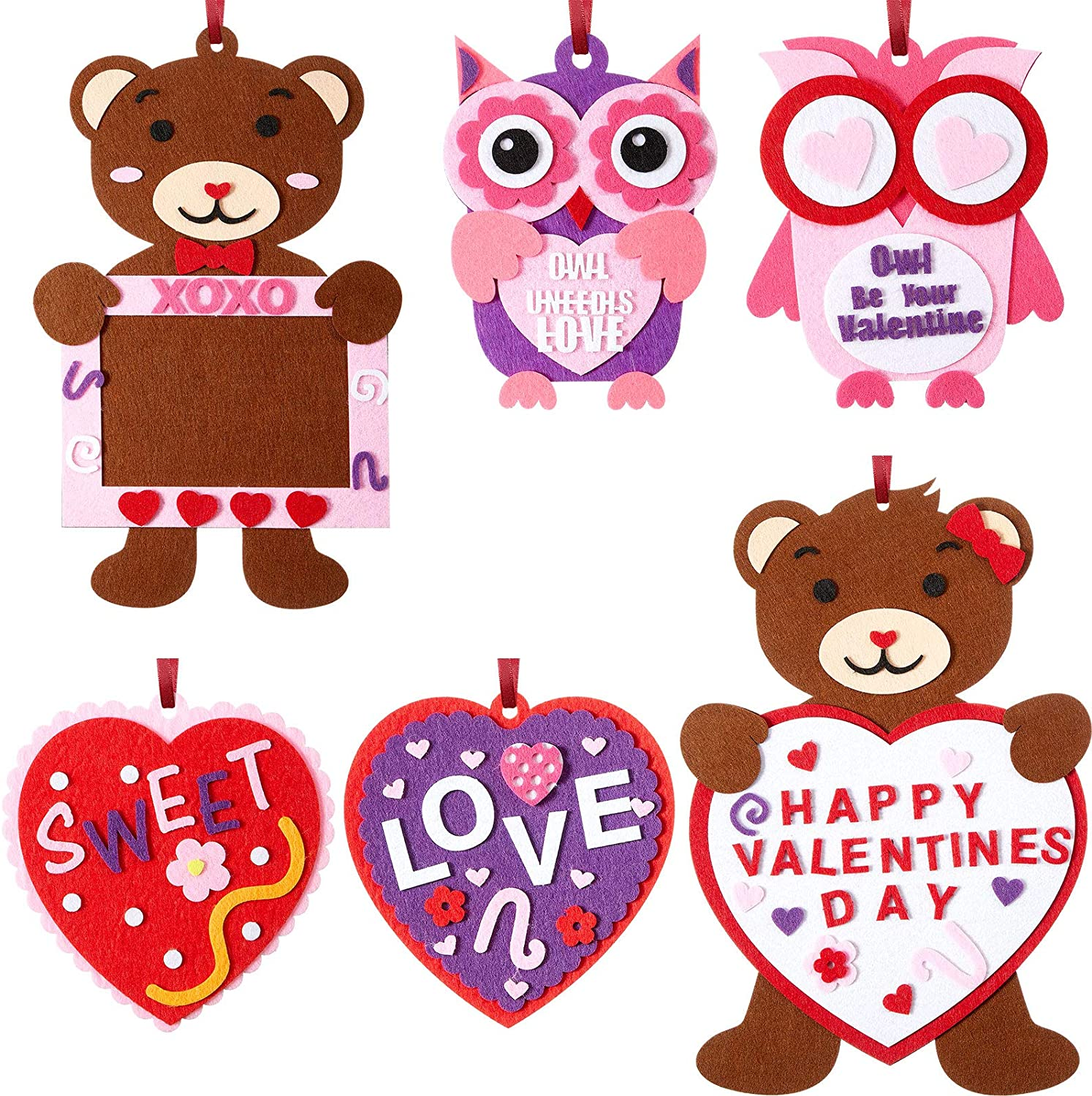 Zonon 6 Set Valentine's Day Felt Craft Kits, Heart Owl Love Bears DIY Felt Creative Hanging Ornament for Home Activities, School Art Projects, Handmade Presents