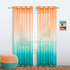 Orange and Teal Curtains 84 Inch Length for Living Room Decor Set 1 Single Window Sheer Panel Semi Voile Drapes Ombre Beach Curtains for Bedroom Dining Home Decoration 52x84 Long Burnt Turquoise Green