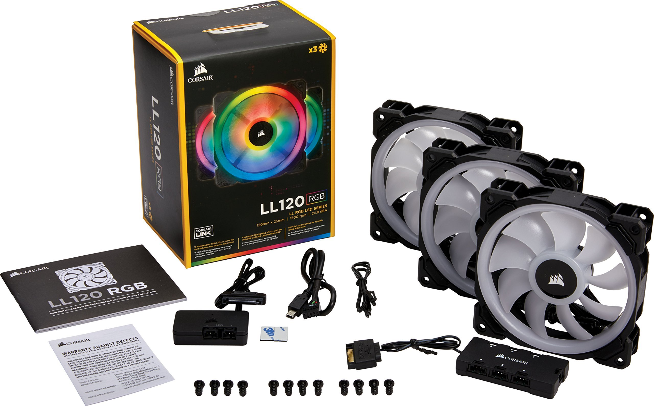 Corsair LL Series LL120 RGB 120mm Dual Light Loop RGB LED PWM Fan 3 Fan Pack with Lighting Node Pro (Renewed) by Corsair (Image #3)
