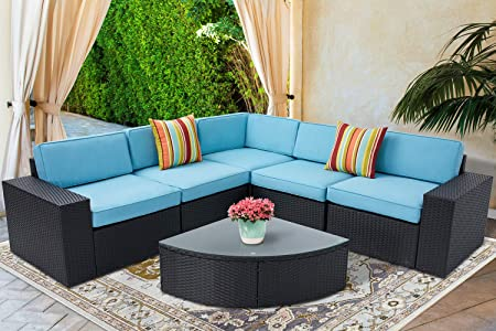 SOLAURA Outdoor Patio 6 Pieces Wicker Furniture Modular Sectional Sofa Black Wicker Blue Cushions and Sophisticated Sector Glass Coffee Table with Fabric Cover
