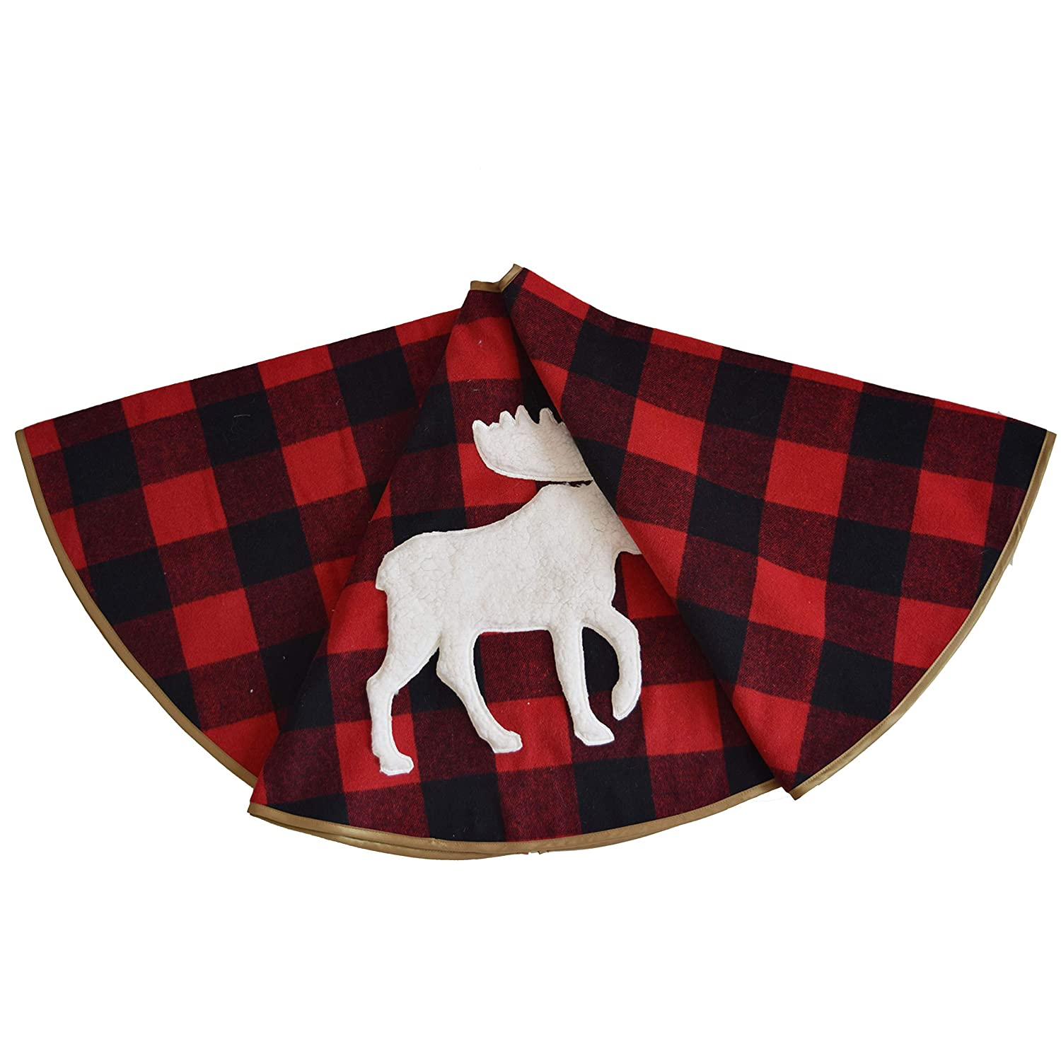 Gireshome Buffalo Check Plaid with White Sherpa Reindeer Applique Embroidery, Reverse to Ploar Fleece Christmas Tree Skirt -48inch