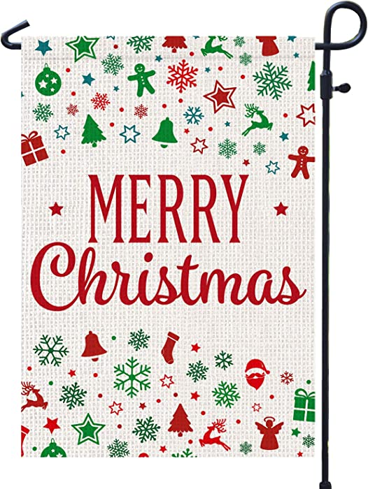 PAMBO Merry Christmas Garden Flags Burlap 12x18 Double Sided for Outside Yard Outdoor Decoration