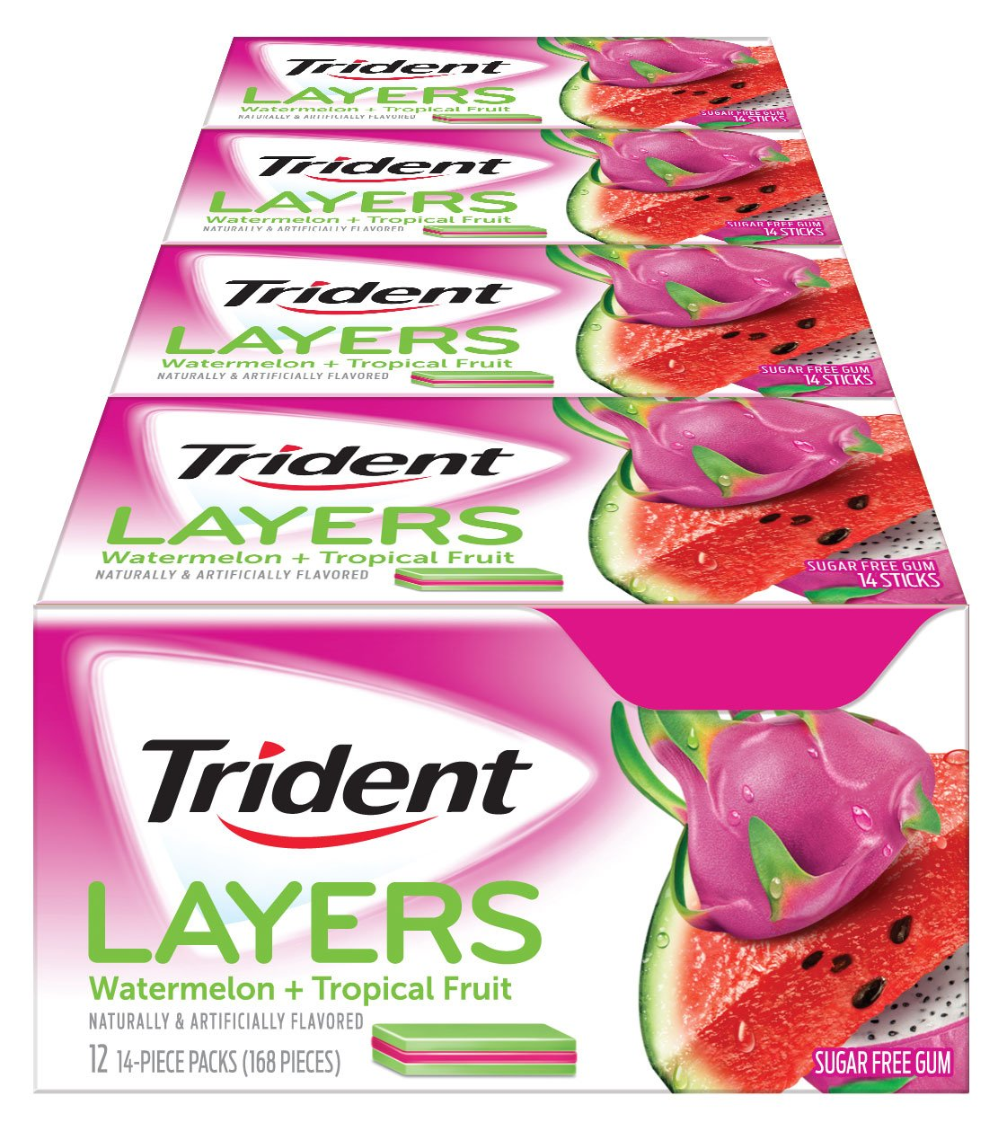 Trident Layers Sugar Free Gum (Watermelon & Tropical Fruit, 14-Piece, 12-Pack) by Trident