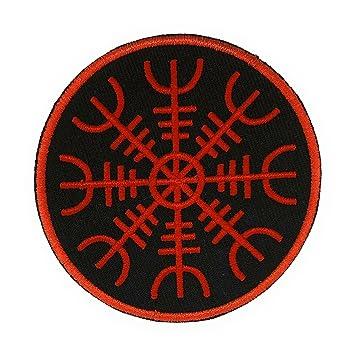 Parche Termoadhesivo Símbolo De Protección Vikingo Aegishjalmur Rojo