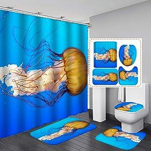 "Fashion&Man 4PCS/Set Cute Jellyfish Shower Curtain Underwater Sea Life Ocean Animal Fabric Polyester Waterproof Bath Curtain Bathroom Rugs Toilet Lid Cover Bathroom Decor 72""x72"" + 12 Hooks, Style 1"