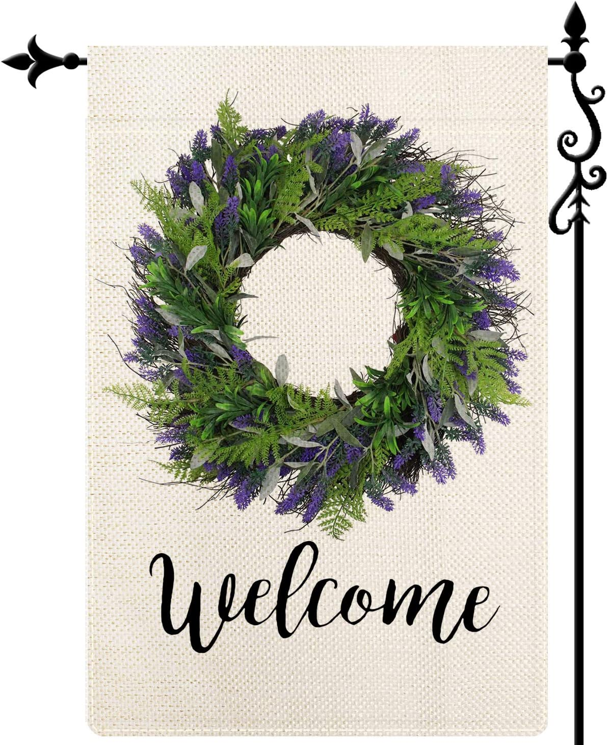 Coskaka Welcome Lavender Wreath Garden Flag Double Sized Seasonal Spring Summer Vertical Double Sided Holiday Seasonal Burlap Yard Outdoor Decoration 12.5 x 18