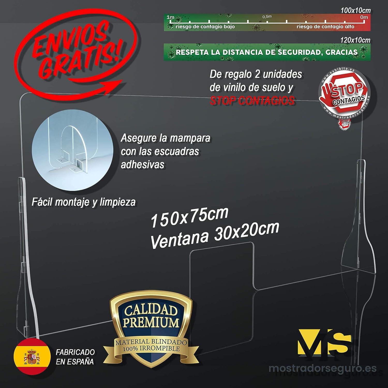 Mampara Premium 150x75cm 5mm Irrompible Protección, Fabricada en Policarbonato Compacto de Alto Impacto Vinilo Suelo Distancia de Seguridad Gratis: Amazon.es: Bricolaje y herramientas