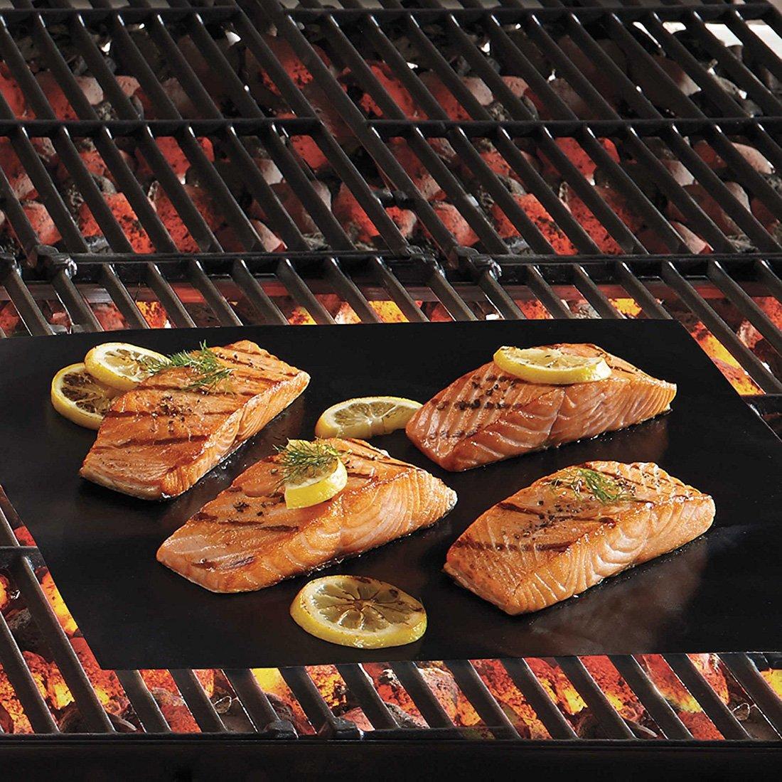 Kihappy Heavy Duty Grill Mat/ Charbon de bois /100/% antiadh/ésif Tapis de cuisson pour barbecue griller/ /Fonctionne sur gaz grill /électrique e /r/éutilisable et facile /à nettoyer/