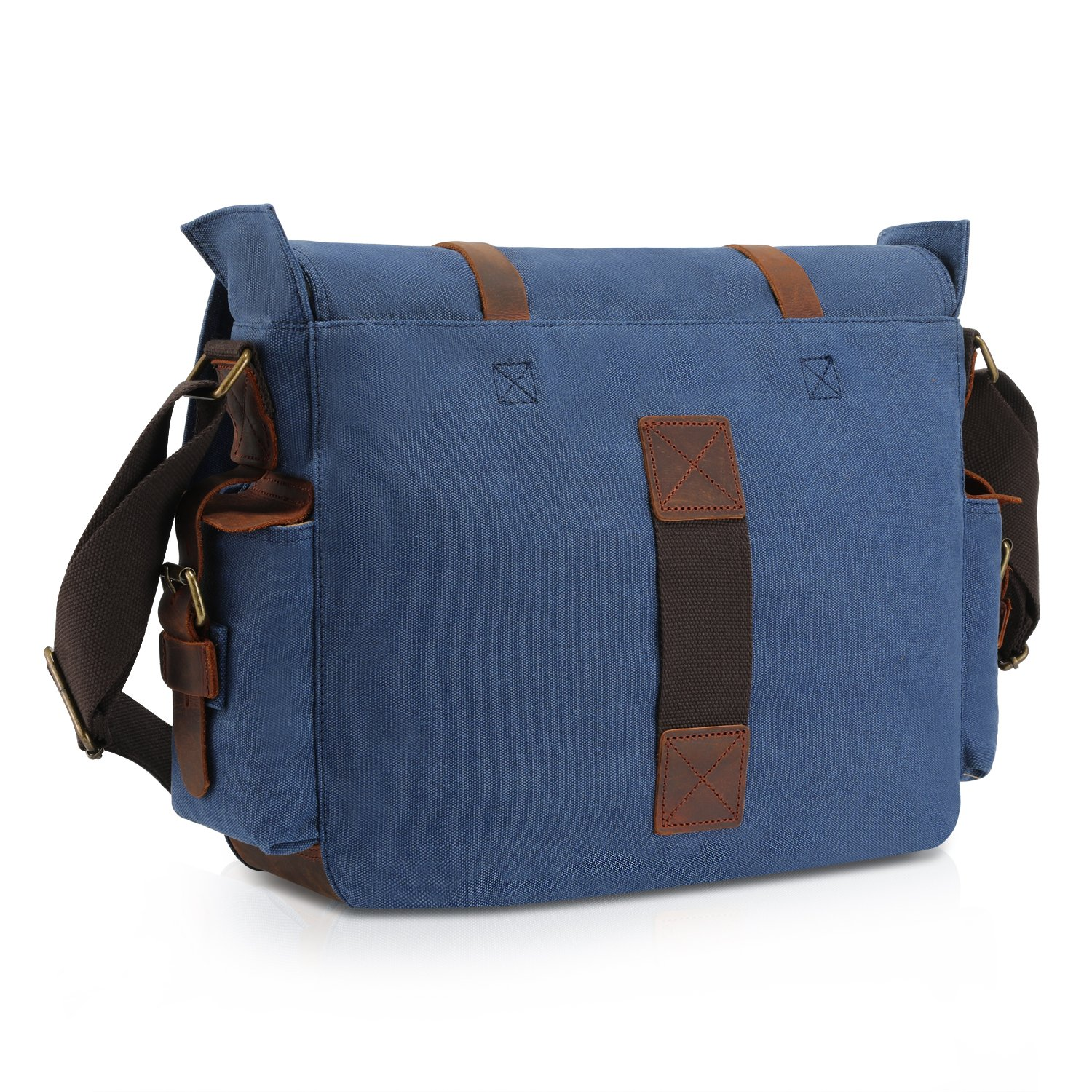 Kattee Classic Military Canvas Shoulder Messenger Bag Leather Straps Fit 16  inch Laptop (Blue)  Amazon.ca  Luggage   Bags 4f12f57d010cb