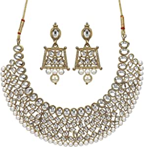 YouBella Stylish Traditional Party Wear Jewellery Gold Plated Jewellery Set for Women (Golden) (YBNK_5562)