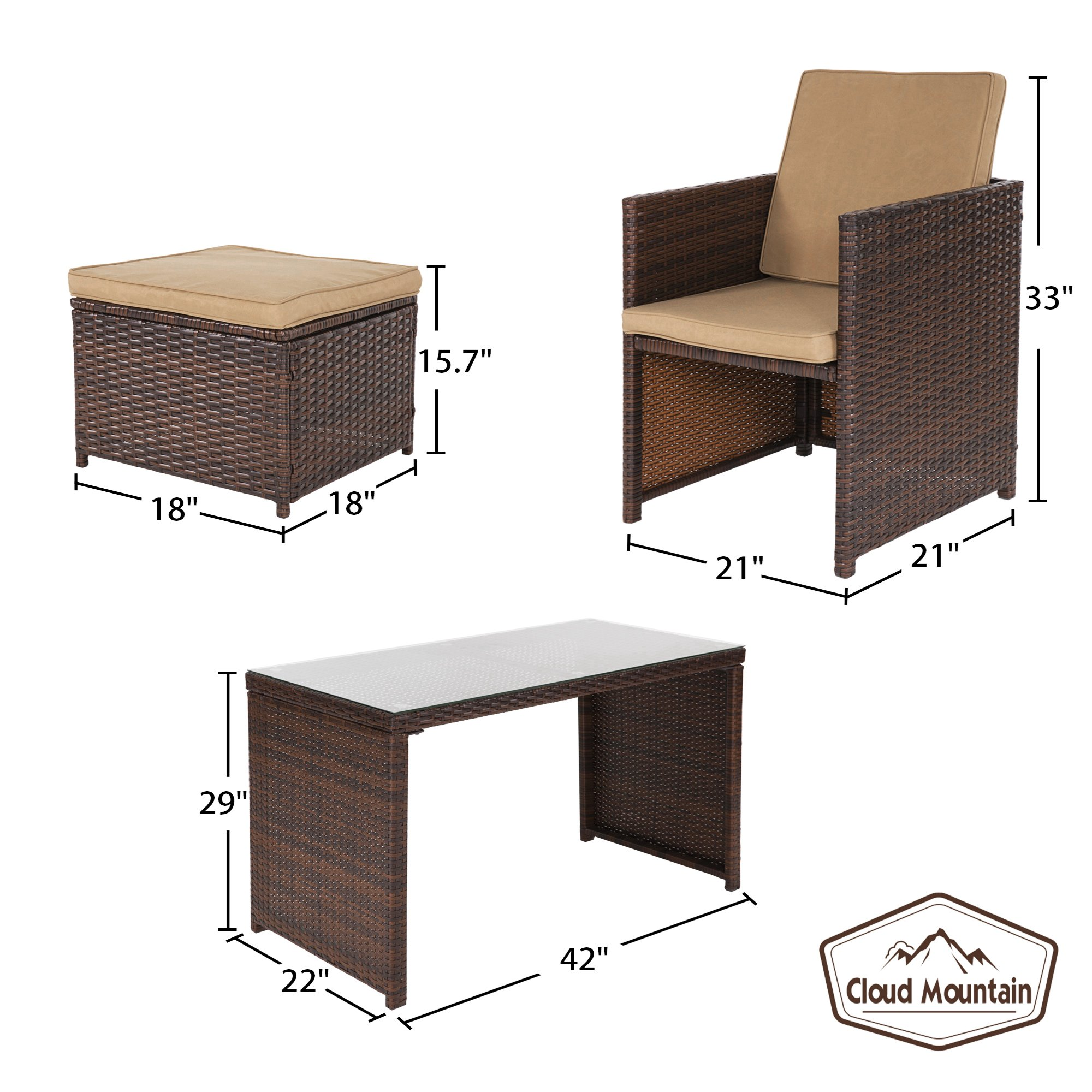 Cloud Mountain Outdoor 5 Piece Rattan Wicker Furniture Bar Set Dining Set Cushioned Patio Furniture Set Space Saving - 1 Patio Dining Table & 4 Conversation Bistro Set, Brown by Cloud Mountain (Image #3)